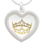 Tiny Queen of Hearts crown tiara Silver Heart Neck