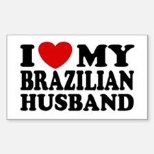 I Love My Brazilian Husband Rectangle Decal