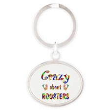 Crazy About Roosters Oval Keychain
