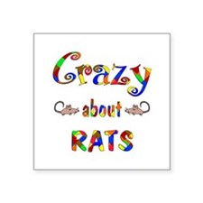 "Crazy About Rats Square Sticker 3"" x 3"""