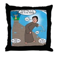 Fishing with Aaron and Moses Throw Pillow