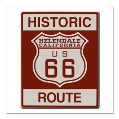 """Helendale Route 66 Square Car Magnet 3"""" x 3"""""""