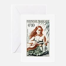 1958 French Polynesia Guitar Girl Postage Stamp Gr