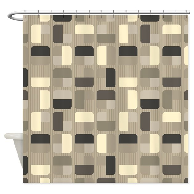 Beige Squares Shower Curtain By BestShowerCurtains