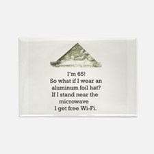 65th Birthday Aluminum Foil Hat Rectangle Magnet