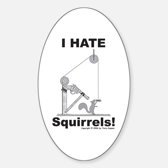 Squirrel Gun Oval Decal