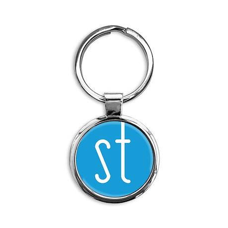 Skinny Twinkie Graphic Logo (Blue) Round Keychain