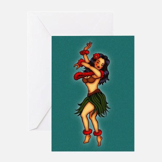 Retro Hula Tattoo Art Greeting Card