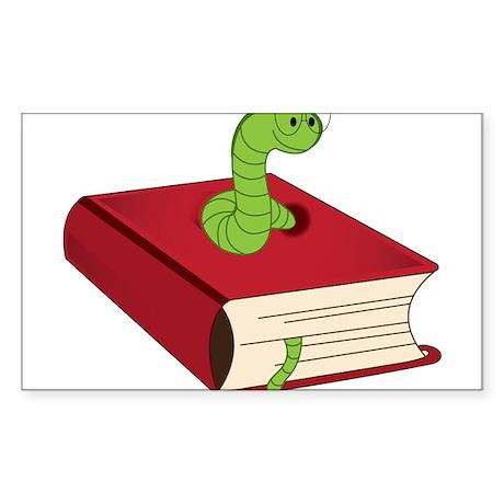 Bookworm Sticker (Rectangle)