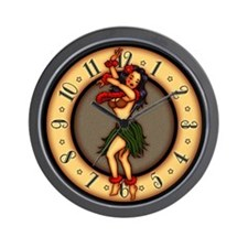 Retro Hula Tattoo Art Wall Clock