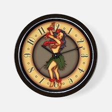 Retro Hula Tattoo Art Wall Clock