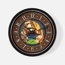 Pirate Ship Mermaid Tattoo Art Wall Clock
