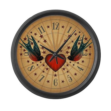 Retro Swallows And Stars Heart Large Wall Clock