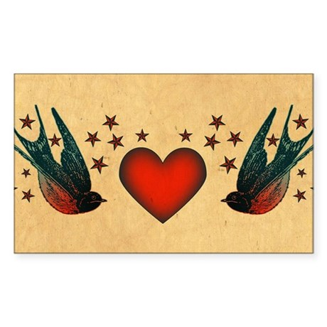 Retro Swallows And Stars Heart Sticker (Rectangle)