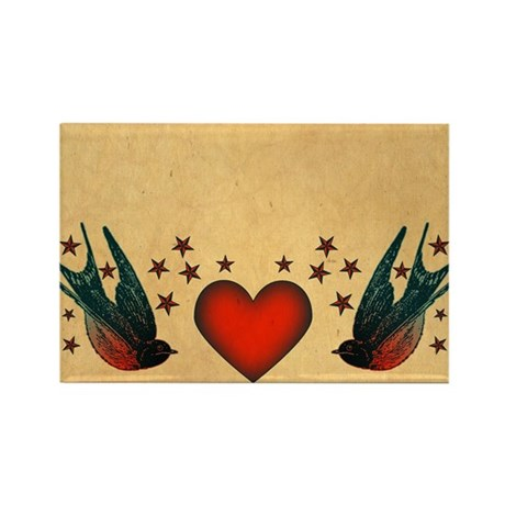 Retro Swallows And Stars Heart Rectangle Magnet