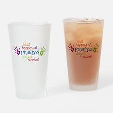 Stays At Preschool Drinking Glass