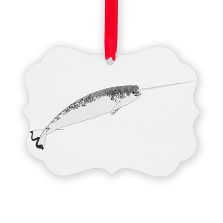Narwhal whale bbg Picture Ornament