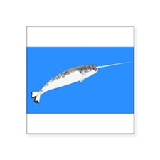 """Narwhal whale bbg Square Sticker 3"""" x 3"""""""
