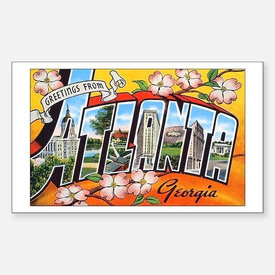 Atlanta Georgia Greetings Rectangle Decal