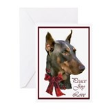 Christmas doberman Greeting Cards