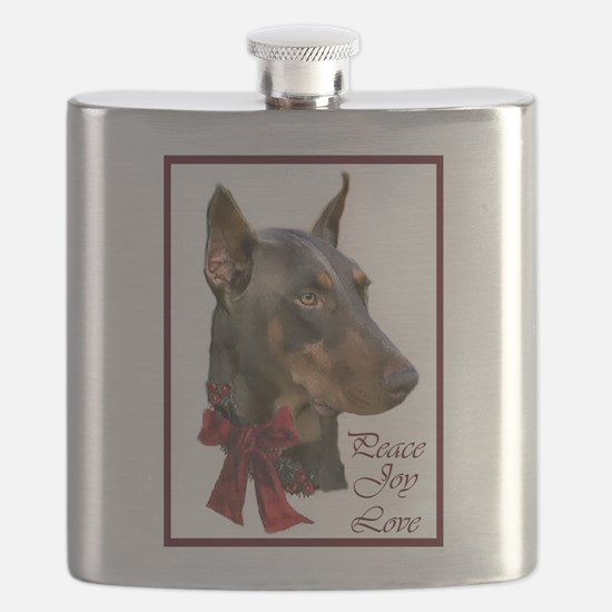 Doberman Pinscher Christmas Flask