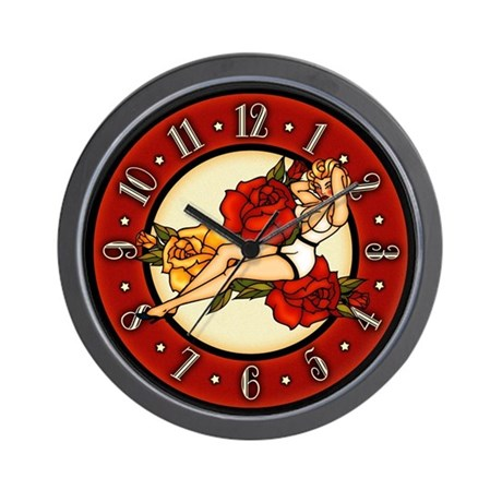 Retro Pinup Girl And Roses Tattoo Art Wall Clock
