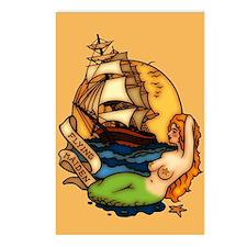 Pirate Ship Mermaid Tattoo Art Postcards (Package