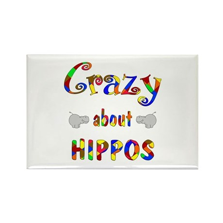 Crazy About Hippos Rectangle Magnet