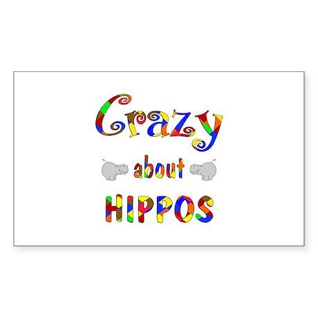 Crazy About Hippos Sticker (Rectangle 50 pk)