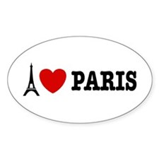 I Love Paris Oval Decal