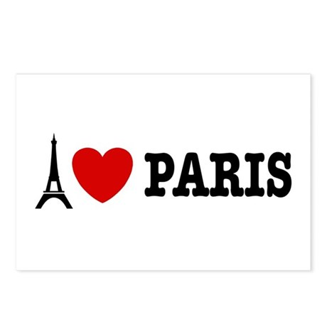 I Love Paris Postcards (Package of 8)