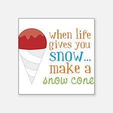 """Make A Snow Cone Square Sticker 3"""" x 3"""""""