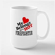 My Heart Belongs to a HOT Firefighter! Large Mug