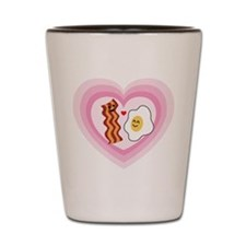 Pink Hearts Valentine Bacon and Eggs Shot Glass