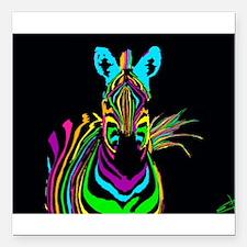 "zebra Square Car Magnet 3"" x 3"""