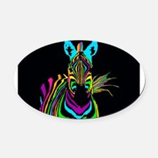 zebra Oval Car Magnet
