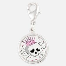 Cute Princess Skull Silver Round Charm