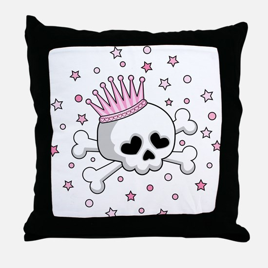 Cute Princess Skull Throw Pillow