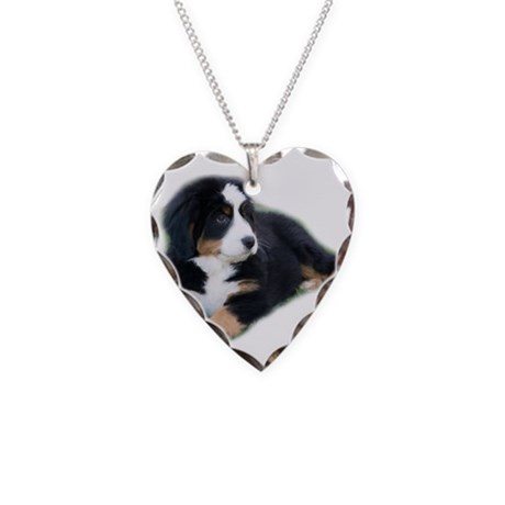 bernese-mountain-puppy_ Necklace Heart Charm