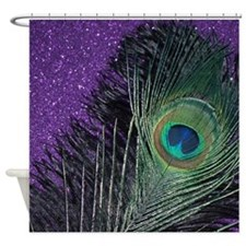 Purple and Black Peacock Shower Curtain
