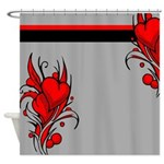 Red Heart Flowers Shower Curtain
