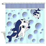 Cute Cartoon Dolphins Shower Curtain