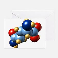 Glutamine, molecular model - Greeting Cards (Pk of