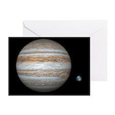 Jupiter and Earth compared, artwork - Greeting Car