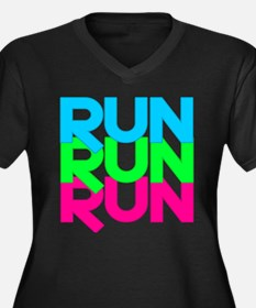 Run Run Run Women's Plus Size V-Neck Dark T-Shirt