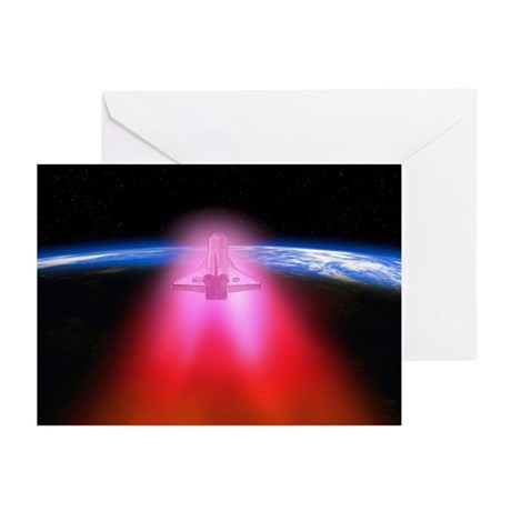 Space shuttle re-entry, artwork - Greeting Cards (