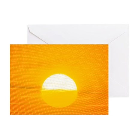 Sunset reflection on solar panel, artwork - Greeti
