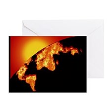 Computer artwork of Earth with burning continents