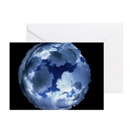Fisheye lens view of cloud cover - Greeting Cards