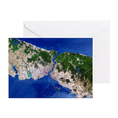 Istanbul, satellite image - Greeting Cards (Pk of
